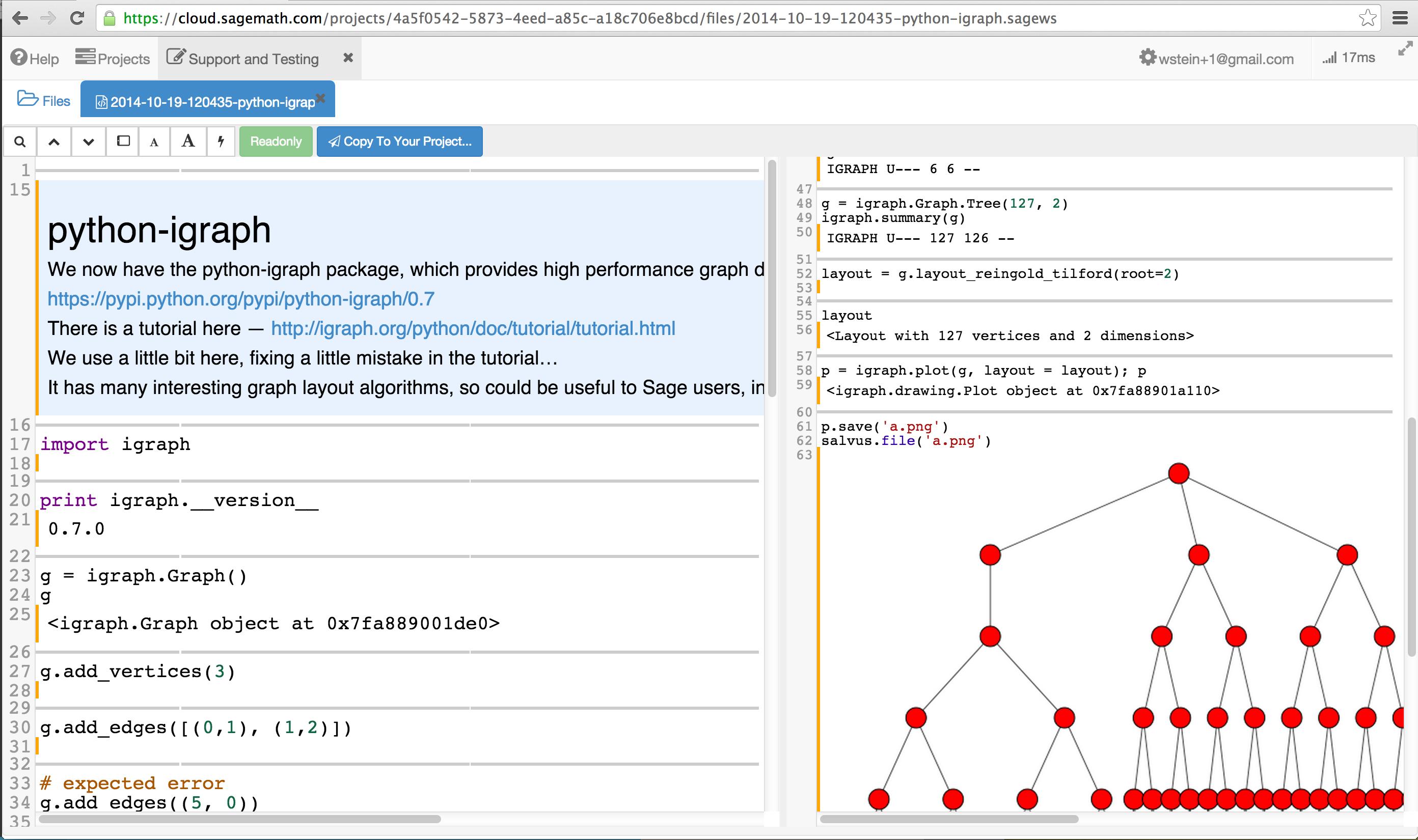 igraph] SageMathCloud + python-igraph